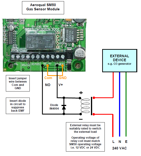 advanced ozone products sm50 sensor module note the default condition is to always use relays in normally open mode so as to create a fail safe solution